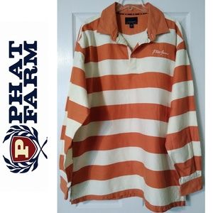 2XL Phat farm bold stripe men polo burnt orange